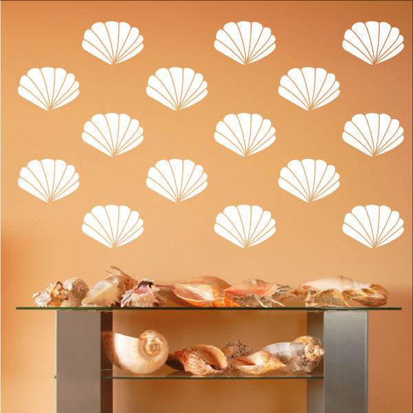 Scallop Sea Shells Vinyl Wall Decals - Set of 4 Inch Scallop Shell Decals 22577 - Cuttin' Up Custom Die Cuts - 1