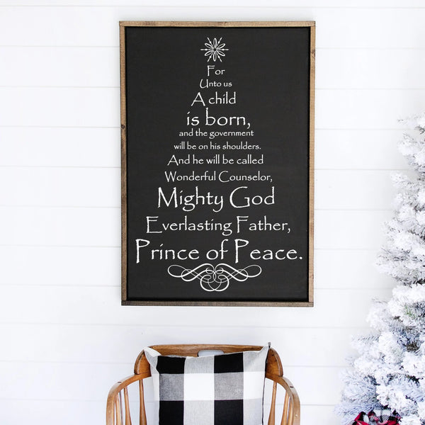 Scripture Christmas Tree Painted Wood Sign Black Board White Lettering