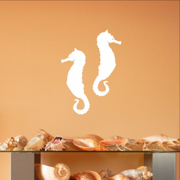 Seahorse Style A Set of 2 Vinyl Wall Decals 22563 - Cuttin' Up Custom Die Cuts - 1