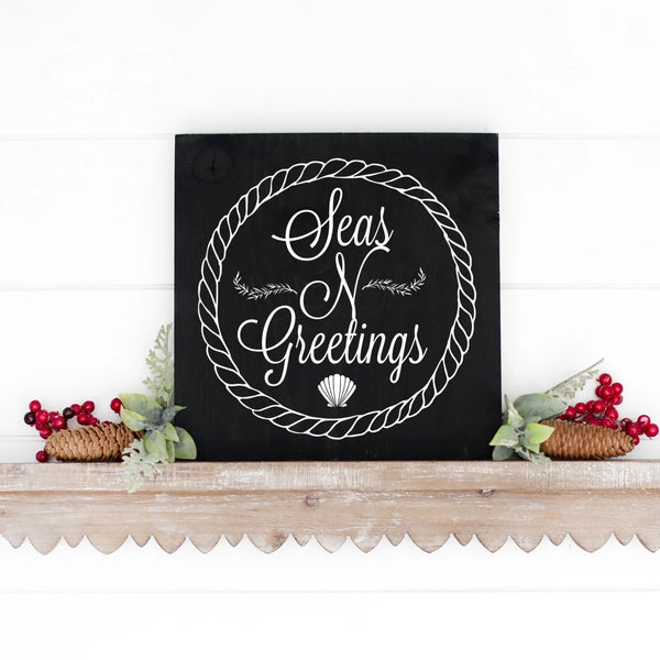 Seas And Greetings Hand Painted Christmas Wood Sign Black Board White Letters