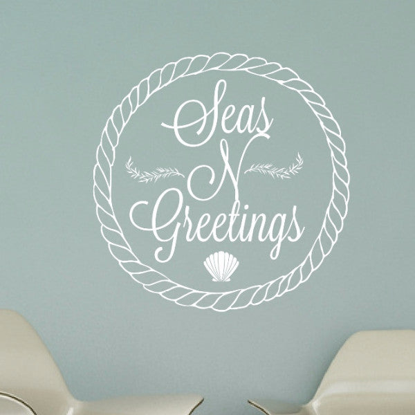 Seas N Greetings Nautical Christmas Vinyl Wall Decal 22597