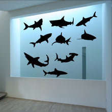 Load image into Gallery viewer, Sharks Vinyl Wall Decal Set of Nine Sharks 22304 - Cuttin' Up Custom Die Cuts - 1