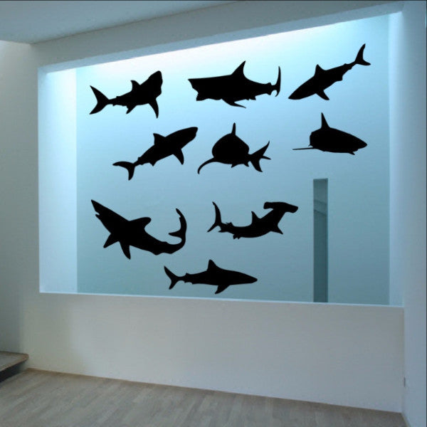Sharks Vinyl Wall Decal Set of Nine Sharks 22304 - Cuttin' Up Custom Die Cuts - 1