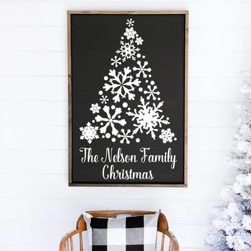 Snowflake Christmas Tree With Family Name Greeting Painted Wood Sign Black Board White Lettering
