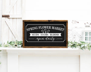 Spring Flower Market Painted Wood Sign Black