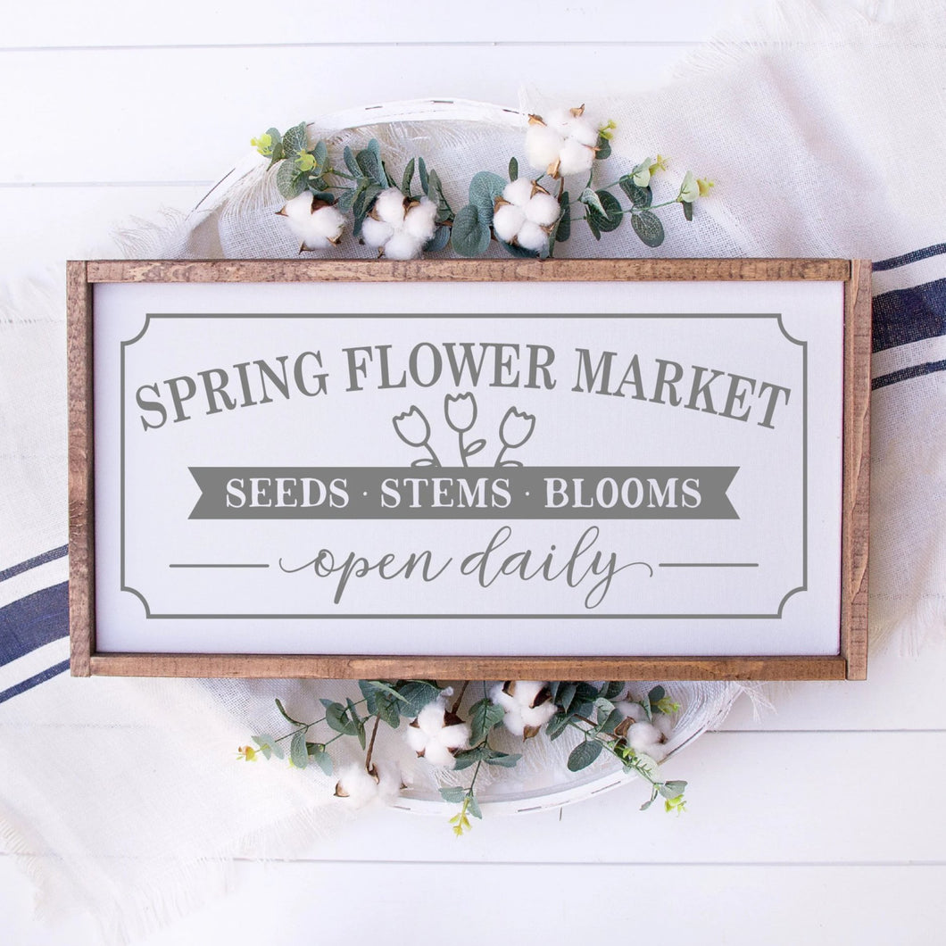 Spring Flower Market Painted Wood Sign White