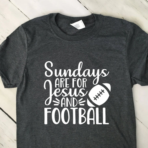 Sundays Are For Jesus And Football Short Sleeve T Shirt Dark Heather Gray White Lettering