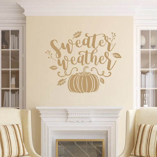 Sweater Weather Vinyl Wall Decal Light Brown