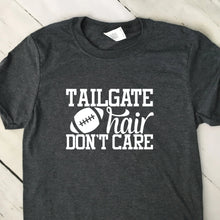 Load image into Gallery viewer, Tailgate Hair Don't Care Short Sleeve T Shirt Dark Heather Gray