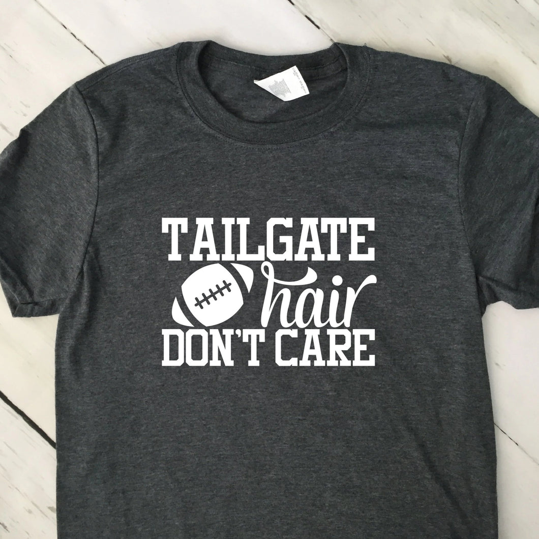 Tailgate Hair Don't Care Short Sleeve T Shirt Dark Heather Gray