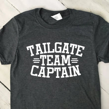 Load image into Gallery viewer, Tailgate Team Captain Short Sleeve T Shirt Dark Heather Gray White Lettering