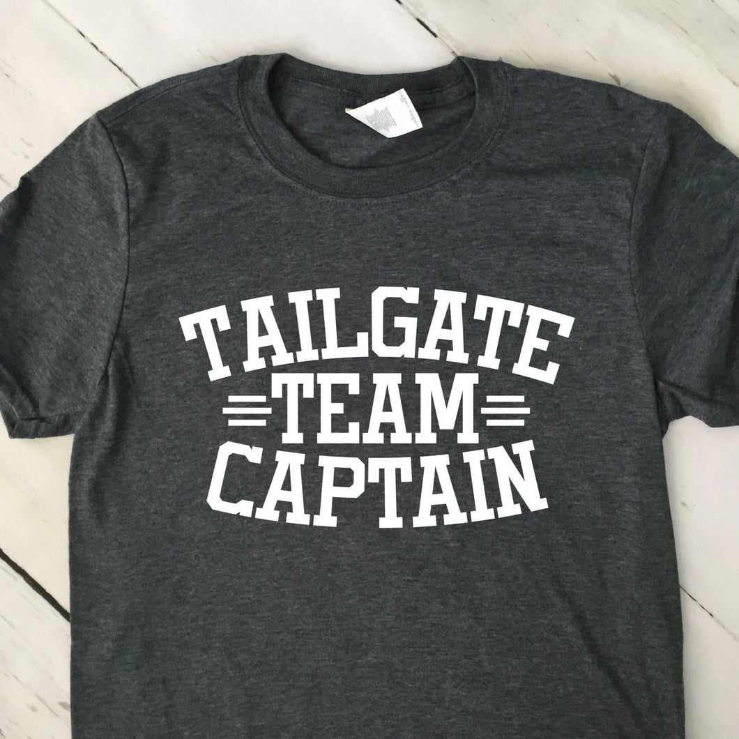 Tailgate Team Captain Short Sleeve T Shirt Dark Heather Gray White Lettering