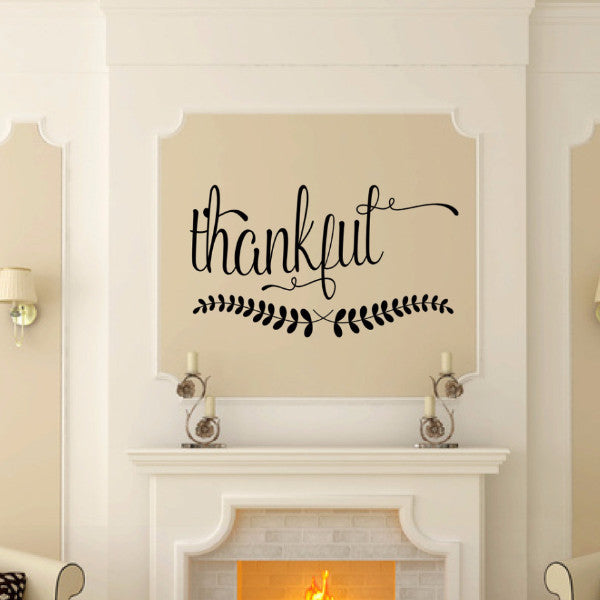 Thankful Script Vinyl Wall Decal 22577