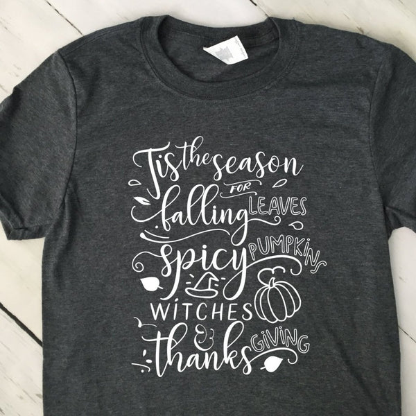 Tis The Season For Falling Leaves Gray T Shirt