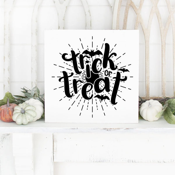 Trick Or Treat With Bats Hand Painted Wood Sign White Board Black Lettering