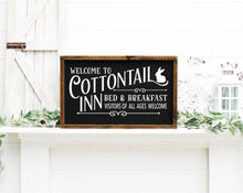 Load image into Gallery viewer, Welcome To The Cottontail Inn Bed & Breakfast Painted Wood Sign Black