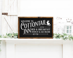 Welcome To The Cottontail Inn Bed & Breakfast Painted Wood Sign Black
