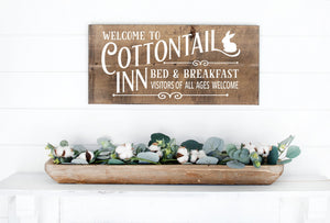 Welcome To The Cottontail Inn Bed & Breakfast Painted Wood Sign Dark Walnut