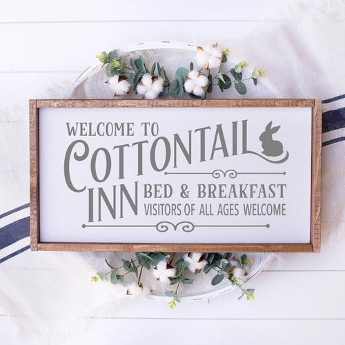 Welcome To The Cottontail Inn Bed & Breakfast Painted Wood Sign White