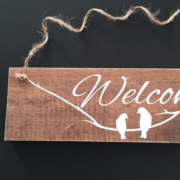 Welcome With Birds and Branch Hand Painted Wood Sign 22602