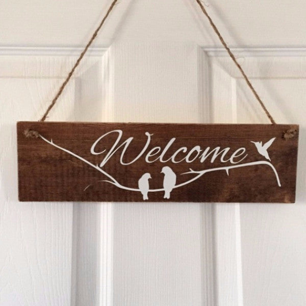 Welcome With Birds and Branch Hand Painted Wood Sign