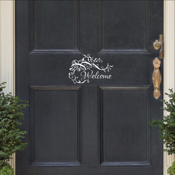 Welcome With Vines and Flourishes Vinyl Door Decal 22535 - Cuttin' Up Custom Die Cuts - 1