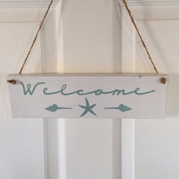 Welcome With Shells and Starfish Hand Painted Wood Sign