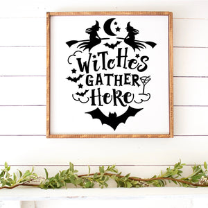 Witches Gather Here Hand Painted Wood Sign Framed Large White Board Black Letters