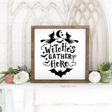 Load image into Gallery viewer, Witches Gather Here Hand Painted Wood Sign Framed White Board Black Letters