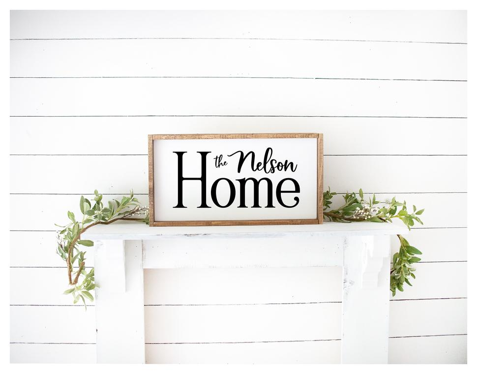 Home With Last Name Painted Wood Sign White Board Black Letters
