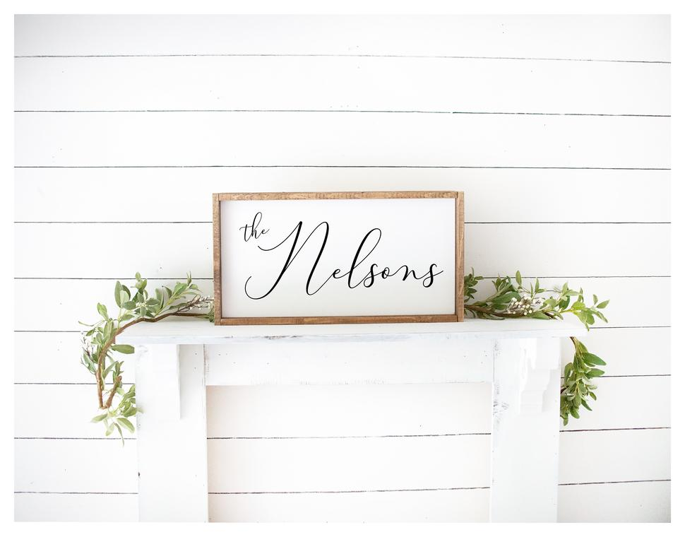 Last Name Script Painted Wood Sign White Board Black Letters