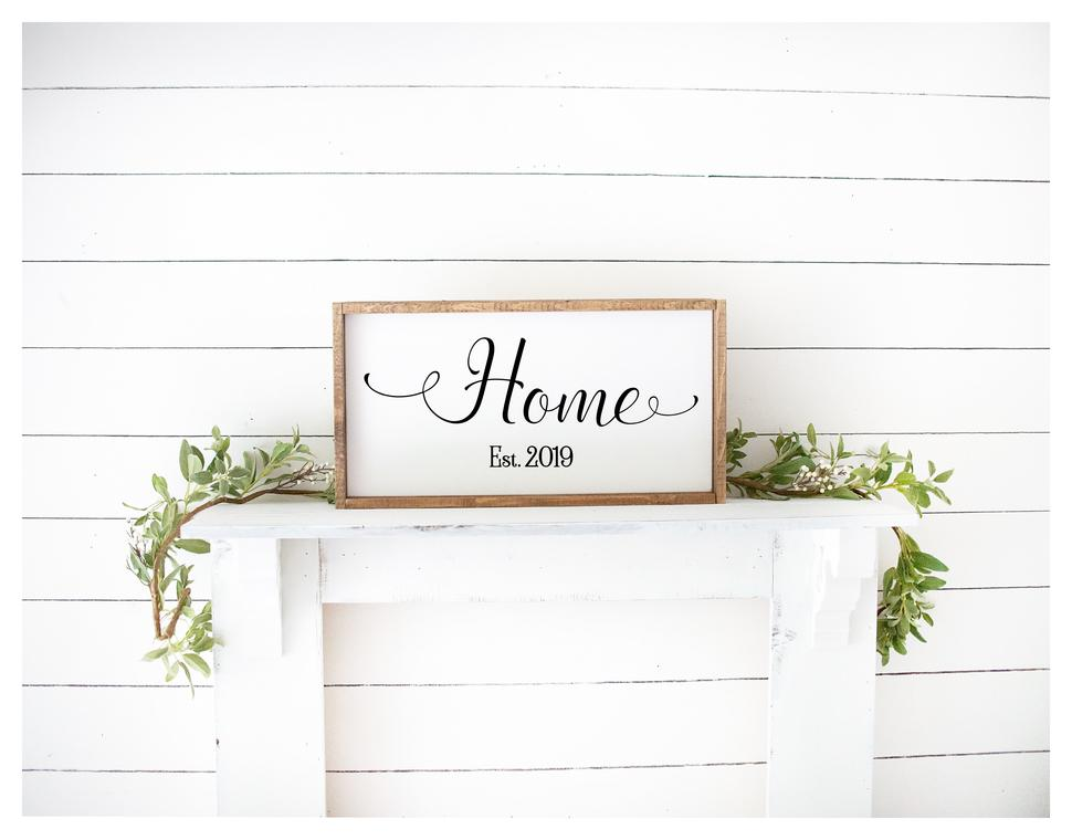 Home With Established Date Painted Wood Sign