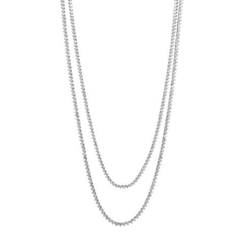 Double Row Three Prong Diamond Riviera Necklace