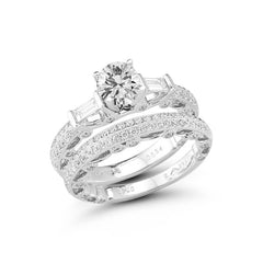 Double Row Vinatage Engagement Ring with Baguettes