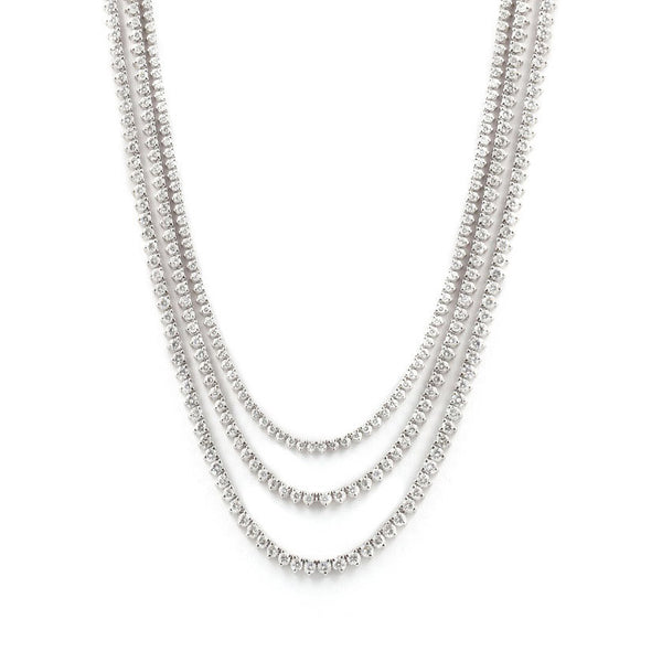 Three Row Three Prong Diamond Riviera Necklace