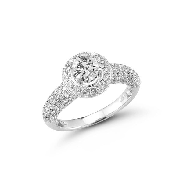 Statement Pavé Halo Engagement Ring