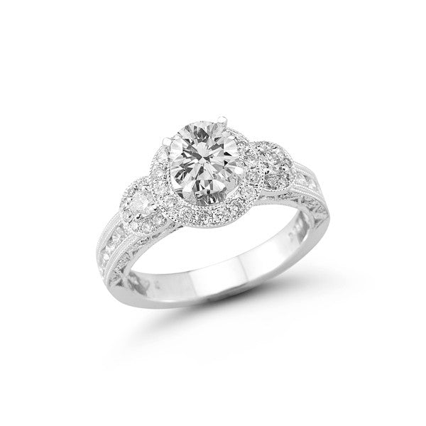 The Vintage Three Stone Halo Engagement Ring