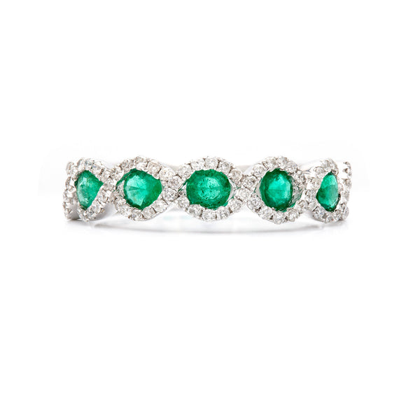 Intertwined in Emeralds and Diamonds Ring-50% OFF!