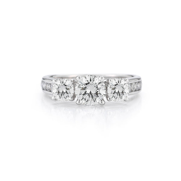 The Maharani Round Trilogy Engagement Ring with Diamonds