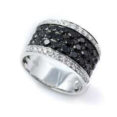 Black & White Diamond Wide Ring