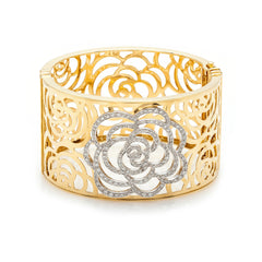 Pavé Diamond & Gold Floral Cuff-50% OFF!