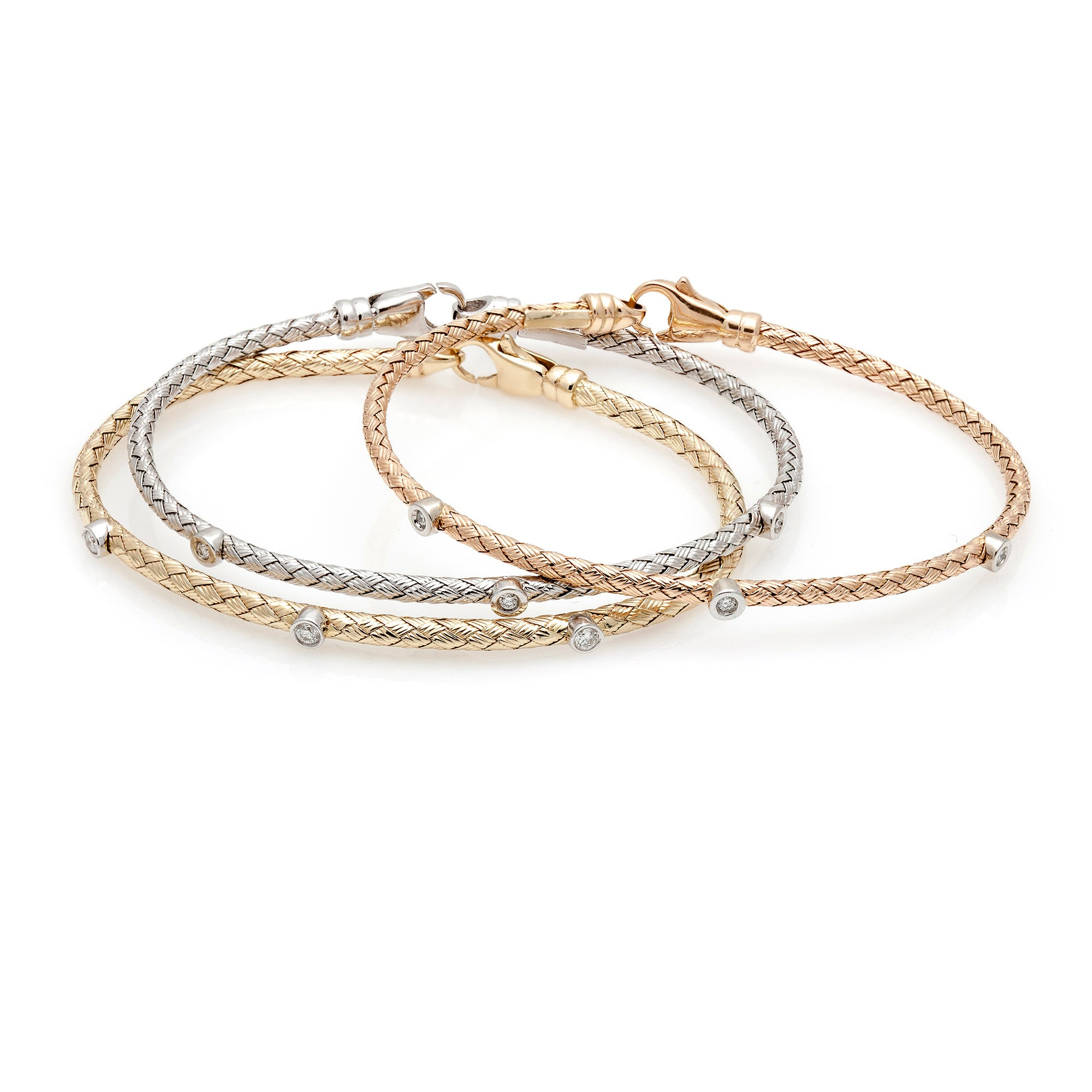 Narrow Gold & Diamond Mesh Bangle-60% OFF!