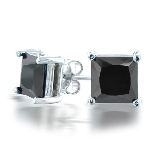 Four Prong Black Diamond Princess Cut Solitaire Studs