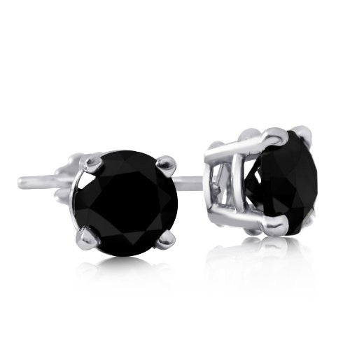 Four Prong Black Diamond Round Solitaire Studs