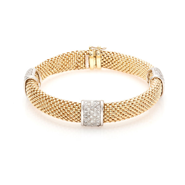 Mesh Gold & Pavé Diamond Bracelet--40% OFF!