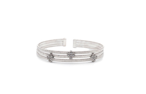 3 Row Floral Silver Bangle