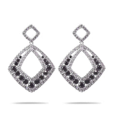 Black and White Diamond Drop Earrings