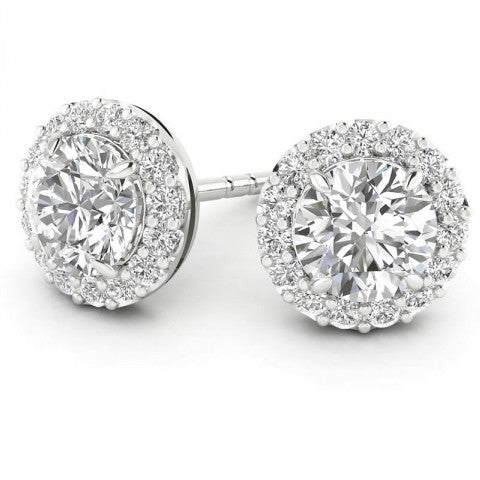 Four Prong Round Diamond Halo Studs-Select Sizes 20% OFF!