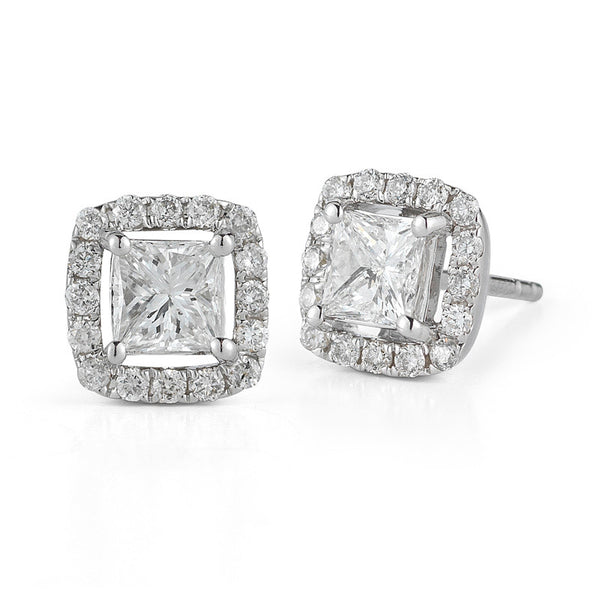 Four Prong Princess Cut Diamond Halo Studs—40% OFF—FINAL MARKDOWN!
