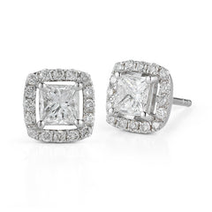 Four Prong Princess Cut Diamond Halo Studs—30% OFF